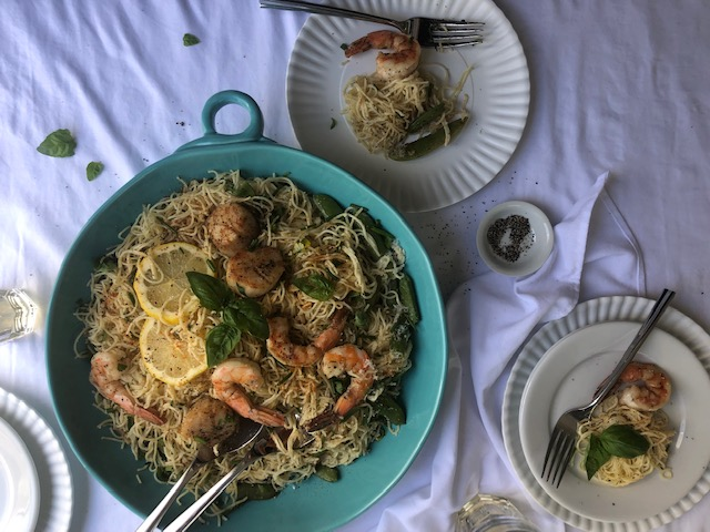 Shrimp and scallop pasta with lemon and herbs