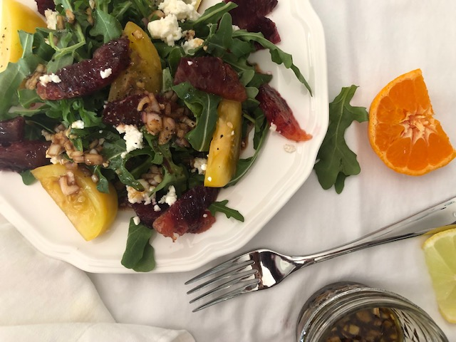 Blood orange salad with arugula and honey goat cheese
