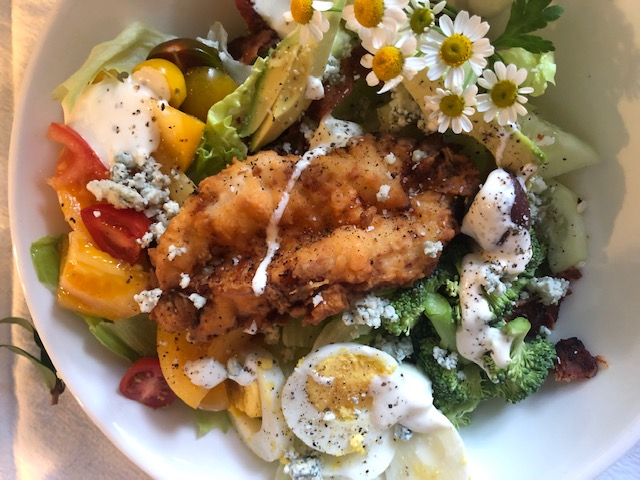 Buttermilk fried chicken Salad with blue cheese dressing